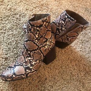 Madden Girl Brown Snakeskin Booties